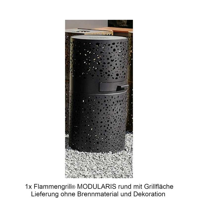 Mecondo Flammengrill® MODULARIS rund 40x90 cm Edelstahl-Grillfäche Corten/Edelstahl Feuertisch