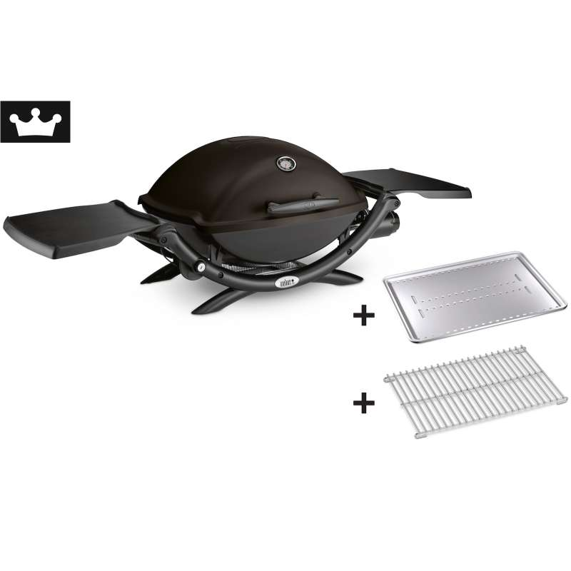 Weber Gasgrill Q 2200 Black inkl. Hitzeschild und Bratenrost