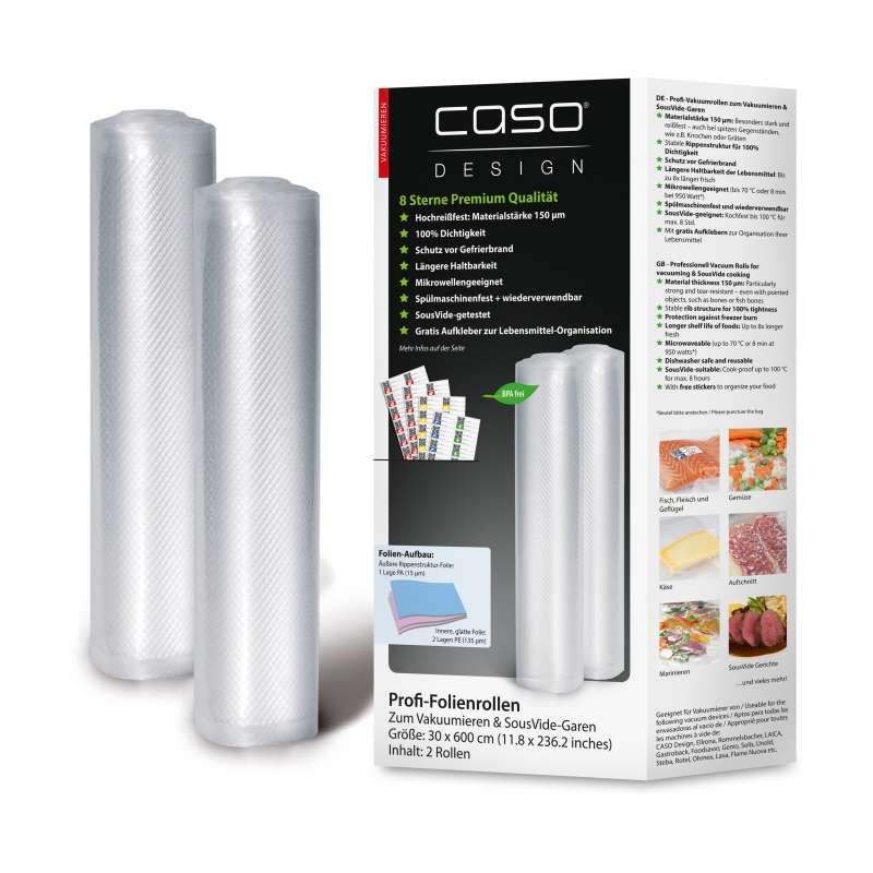 Caso Design Profi-Folienrollen 30 x 600 cm 2 Stück für Vakuumiersysteme und Sous Vide