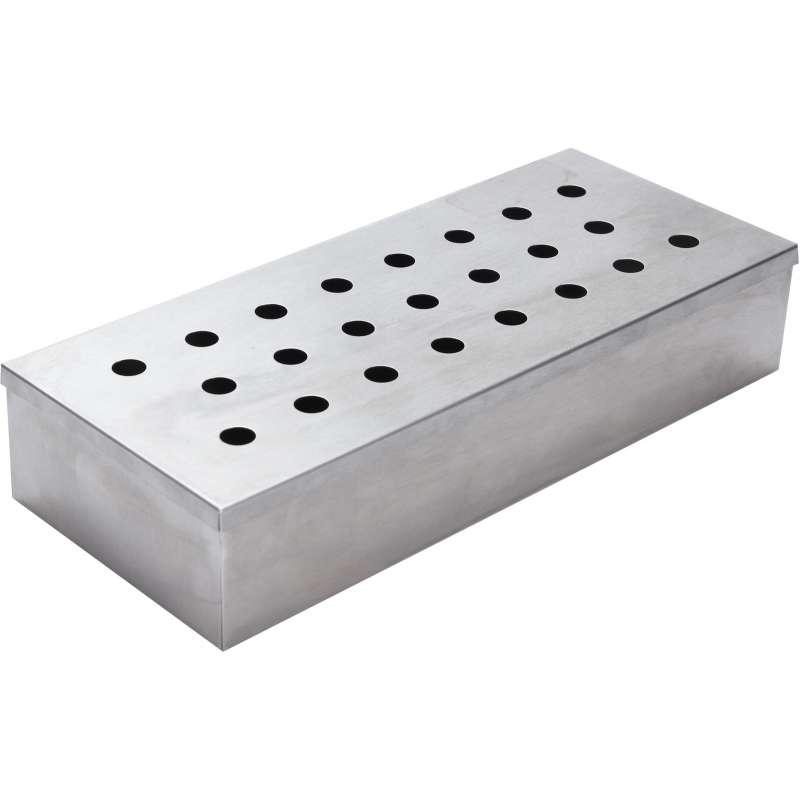 Räucherbox Edelstahl 24 x 10 x 4,5 cm Smoker Box BBQ Grillzubehör Aromabox