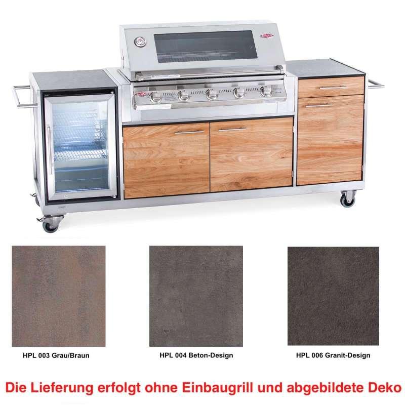 Niehoff Garden Outdoor-Küche Basic ca. 225,5x95,6x55 cm Teak Front HPL Korpus