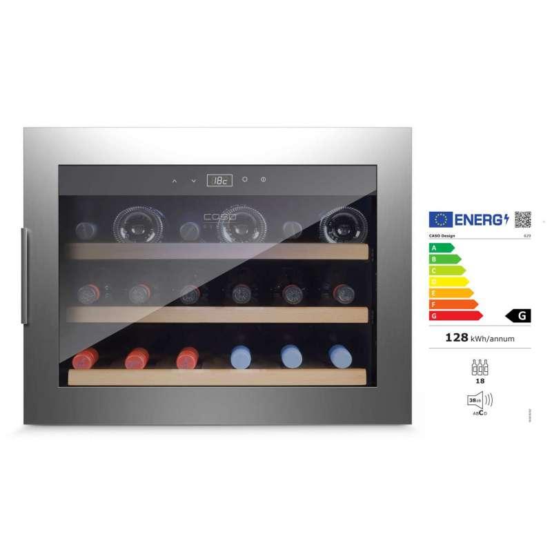 Caso Wine Safe 18 EB Inox Einbau-Weinkühlschrank Kompressortechnik EEK: G / Spektrum: A bis G
