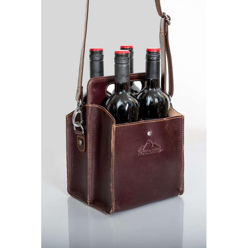 Alpenleder Getränketasche WEINVIERER wine Leder-Weintasche für 4 Weinflaschen CG6012-w