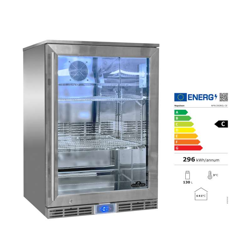 Napoleon Edelstahl Outdoor Kühlschrank 135 Liter rechtsdrehende Tür EEK: C / Spektrum: A bis G