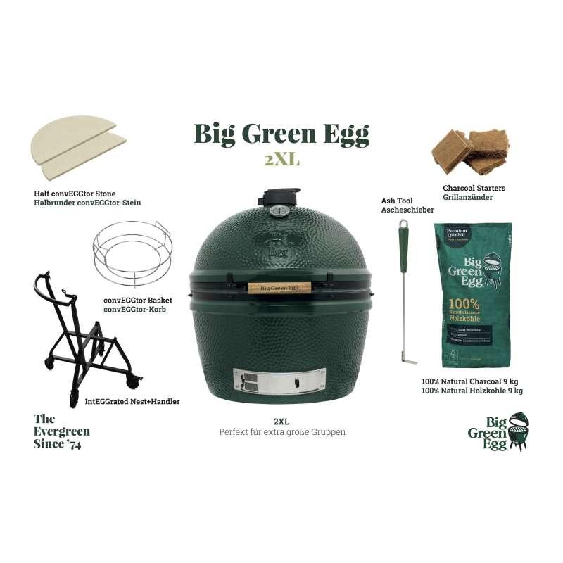 Big Green Egg 2XLarge Starter-Set Kamadogrill Keramikgrill ∅ 73 cm Grillrost für bis zu 12 Personen