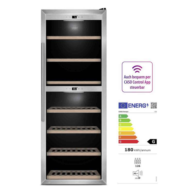 Caso Design Wine Comfort 1260 Smart App-Gesteuerter Weinkühlschrank EEK: G / Spektrum: A bis G