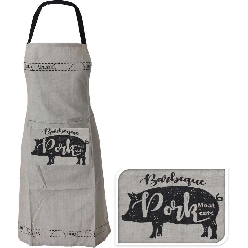 Grillschuerze BBQ 60 x 84 cm Kochschuerze beige Barbeque Pork Kuechenschuerze Gastronomie