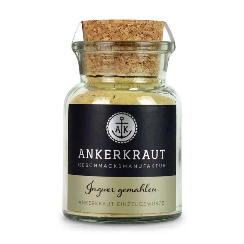 Ankerkraut Ingwer Fein gemahlen Küchengewürz für Asiatische Gerichte und Curry im Korkenglas 65 g