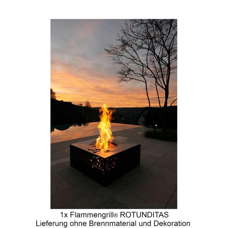 Mecondo Flammengrill® ROTUNDITAS 100x100x40 cm Edelstahl-Grillfäche Corten/Edelstahl Feuertisch