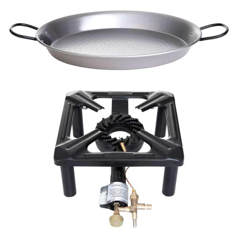 Paella World Hockerkocher-Set klein 30x30x14 cm mit Stahlpfanne Ø 32 cm und Zündsicherung Gaskocher