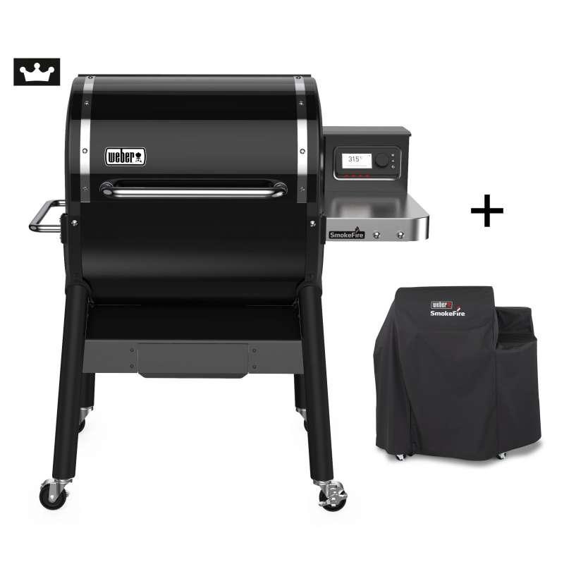 Weber SmokeFire EX4 GBS Holzpelletgrill Black mit Premium Abdeckhaube 7192