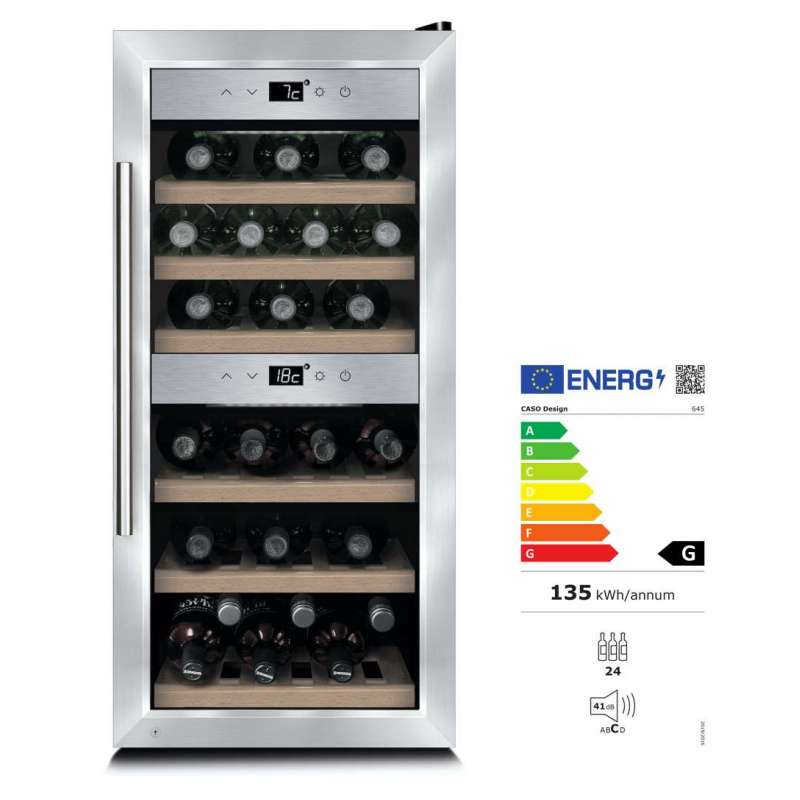 Caso Design Wine Comfort 24 Weinkühlschrank mit Kompressortechnik EEK: G / Spektrum: A bis G