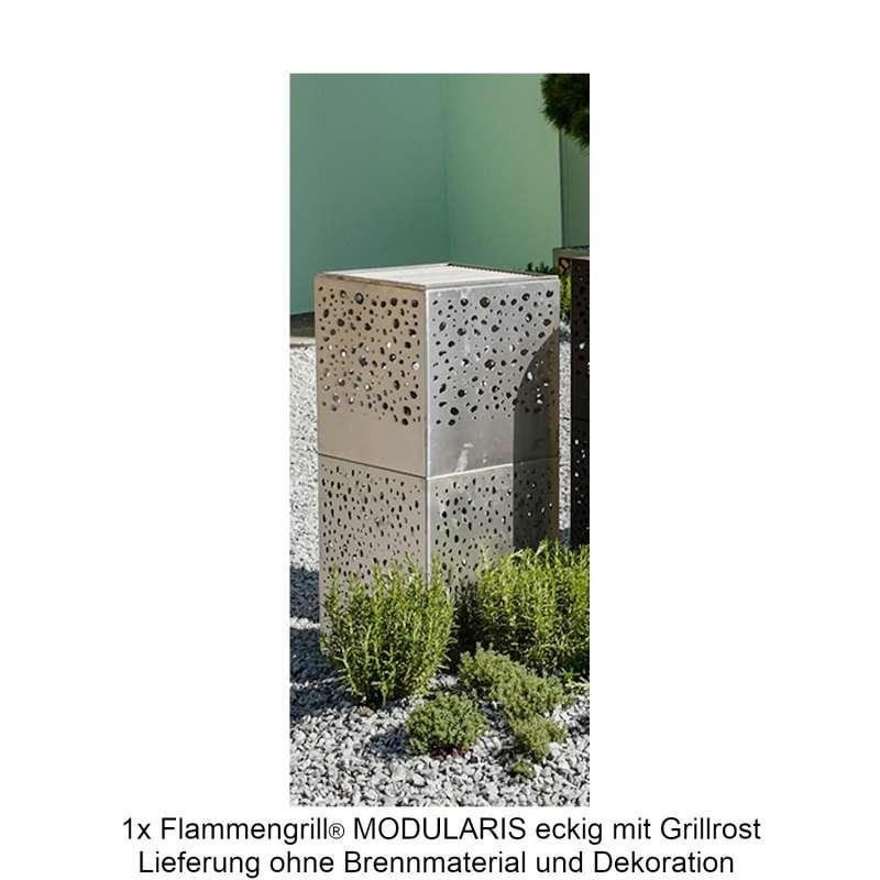 Mecondo Flammengrill® MODULARIS eckig 40x40x90 cm Edelstahl-Grillrost Corten/Edelstahl Feuertisch